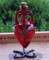 LOVE SPELL Scarlet Red Heart Amphora w/ Stand