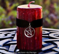 TRUE BLOOD Sacred Witch Blood Gothic Red Pillar Candle w/ Pentacle on Black Velvet