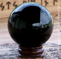 Black Crystal 50mm Ball w/ Wood Stand