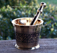 ALCHEMY Old World Medieval Style Witchcraft Brass Mortar & Pestle