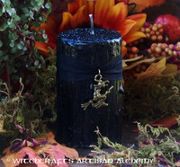 HAUNTED HOLLOW WITCH Black Pillar Candle