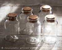 Clear Glass DIY Cylinder Craft Bottles w/ Corks, Set of 5