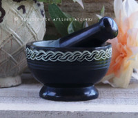 "CELTIC ARCANA 4""D  Weaving Knots Black Soapstone Mortar & Pestle"