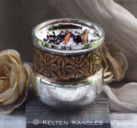 """SASSENACH """"Heirloom Heritage"""" Coco Apricot Crème Luxury Wax Mercury Glass Container Candle"""