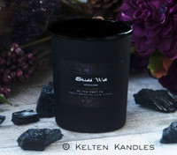 """SHIELD WALL """"Witchwerks Petite"""" Coco Apricot Crème Luxury Wax Matte Black Glass Container Candle"""
