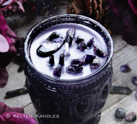 """HECATE Coco Apricot Crème Luxury Wax """"Heirloom Heritage"""" Purple Glass Container Candle"""
