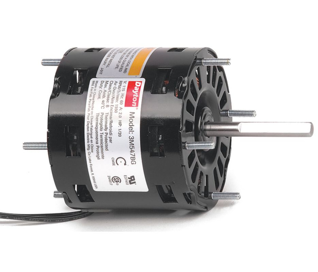 "1/20 hp, 1550 RPM, 115 Volt, 3.3"" diameter Dayton Electric ..."