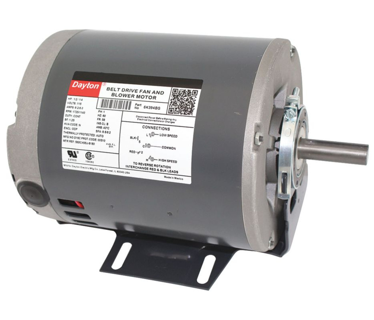 1/2 hp 1725 RPM 2-speed 115V Whole House Fan Motor Dayton 6K394