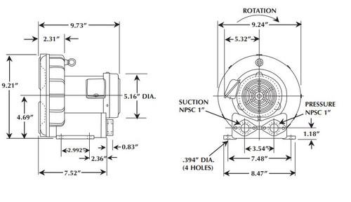 Vfc200p 5t Fuji Regenerative Blower 37 Hp 3 6 1 8 Amps