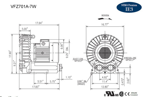 VFZ701A-7W Fuji Regenerative Blower 6.7 hp, 208-230/460 Volts