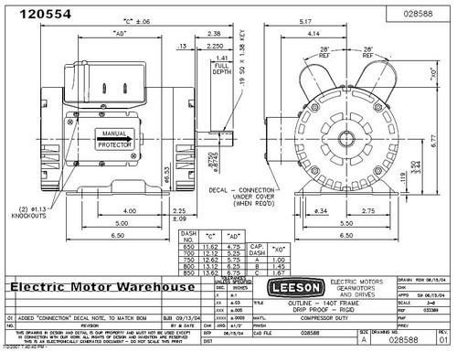 5 hp 3450 rpm 145t 230v air compressor motor leeson 120554Leeson Motor Wiring Diagrams Caps #7