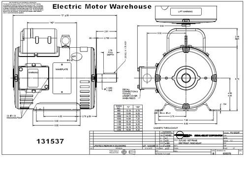 5 hp 1725 RPM 184T Frame ODP 230V Leeson Motor # 131537