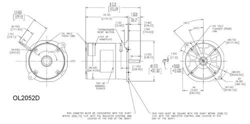 Oil Burner Motor 1/2 hp 3450 RPM 48N Frame 115/230V