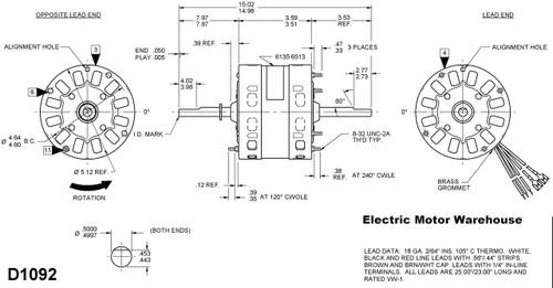 1/3 HP 115V 1625 RPM 2-speed RV Air Conditioner Motor (7184-0156 ...