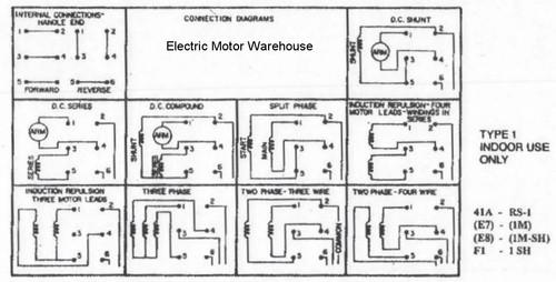 1 5 Hp - 2 Hp Electric Motor Reversing Drum Switch - Spring Returned