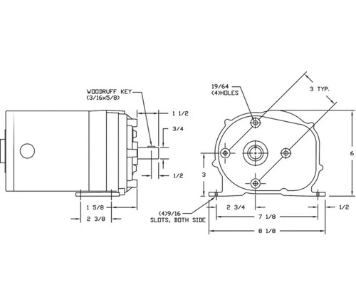 1  4 hp 60 rpm 115v dayton ac parallel shaft gear motor
