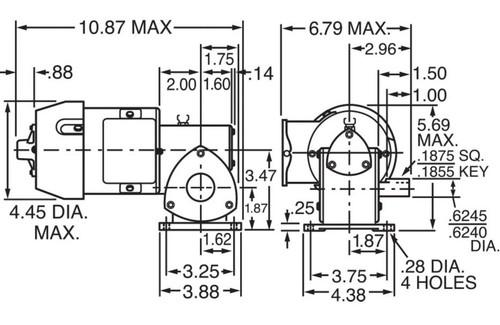 Dayton Model 1XFZ3 Gear Motor 173 RPM 1/8 hp TEFC 115V