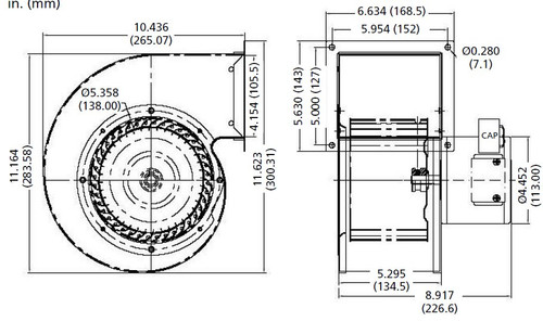 R7-RB445 Rotom Replacement Blower 549 CFM For Dayton 4C445