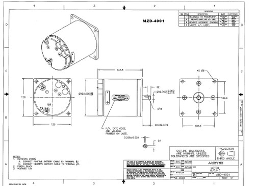Prestolite Motor MZD-4001 Hydraulic DC Snow Plow Lift Motor