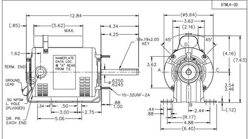 1  3 hp direct drive blower motor 1100 rpm 115v dayton   6twl4