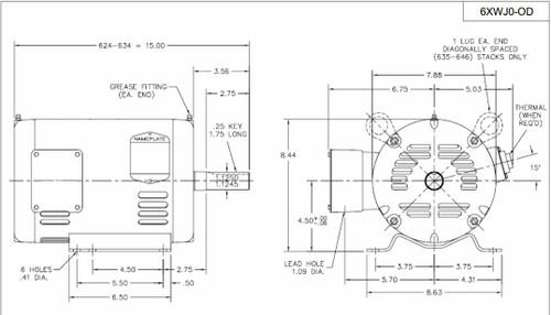 3 hp belt drive blower 3 phase motor 1725 rpm 182t 208
