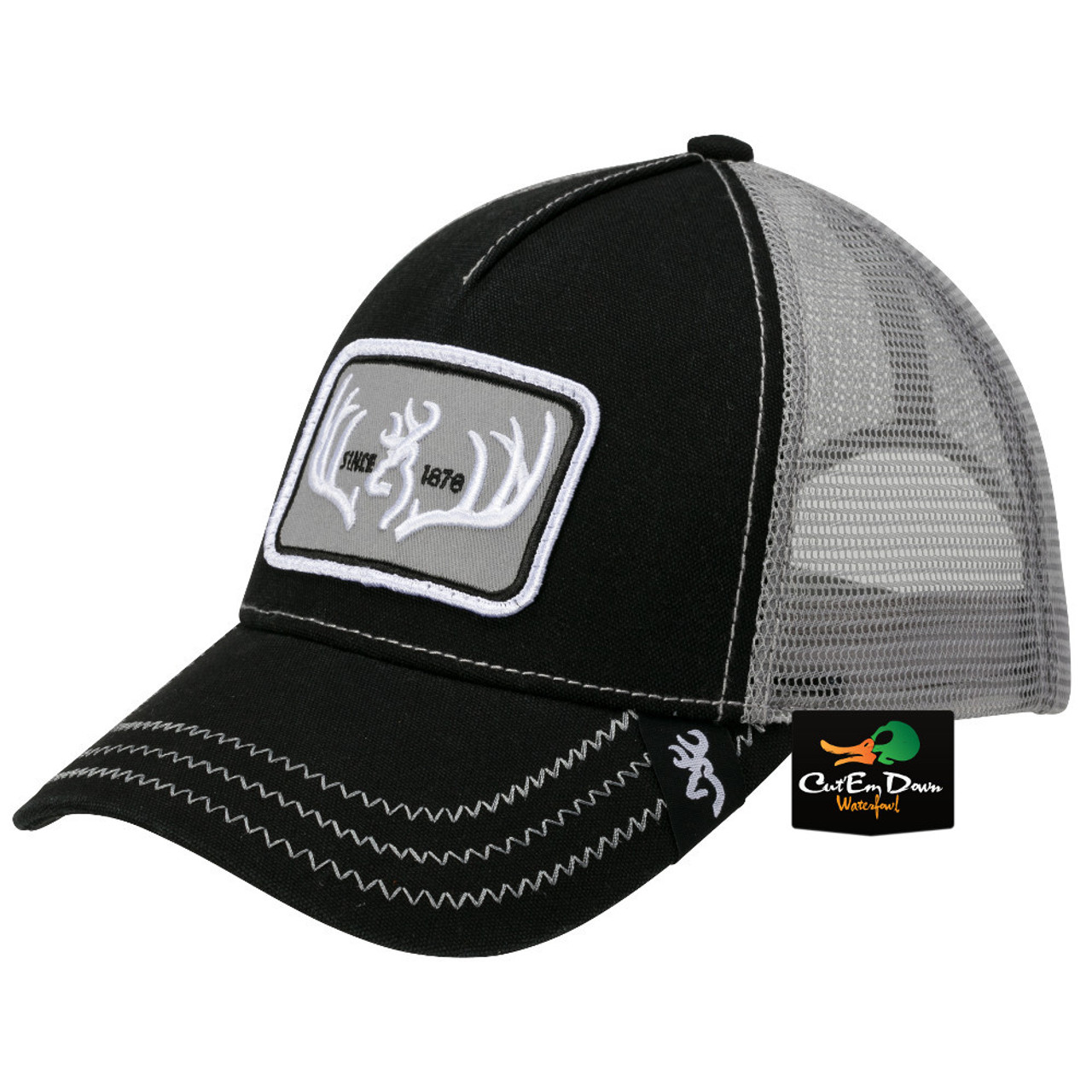 b8bef9ea205 Details about NEW BROWNING TYPICAL MESH BACK HAT BALL CAP BUCKMARK LOGO  BLACK   GRAY