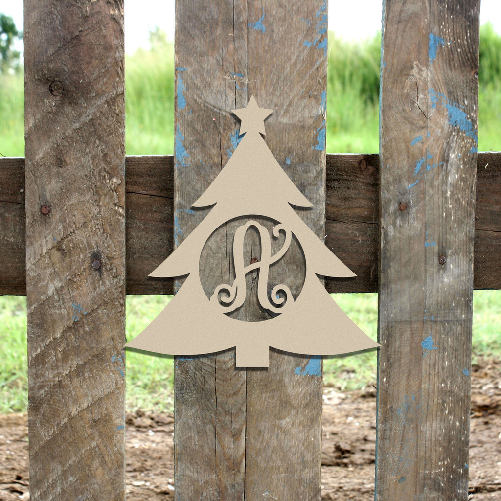 Christmas Tree Monogram Letter Frame Wooden Unfinished DIY Crafts