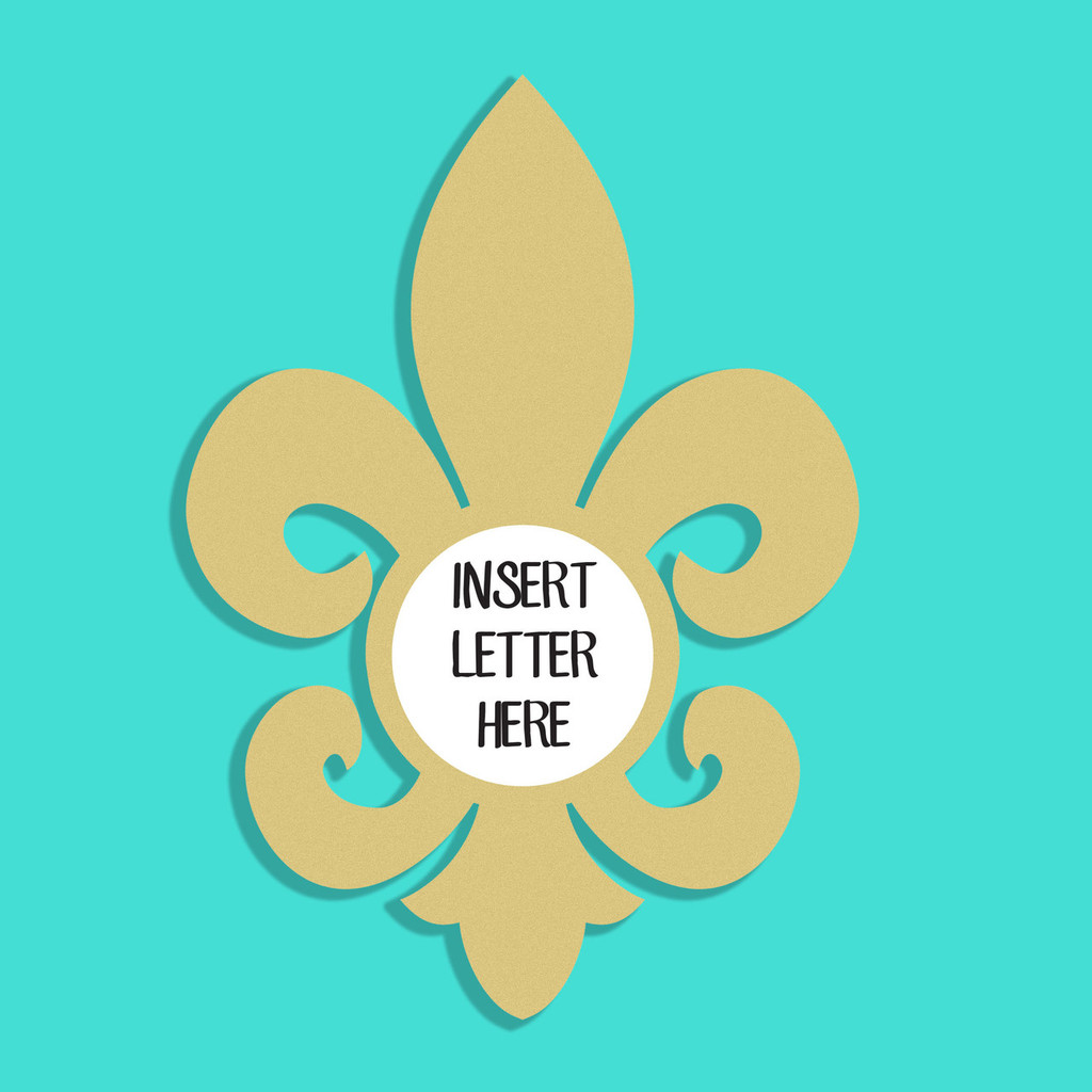 Unfinished Wooden Christmas Fancy Fleur de Lis Letter Insert ...
