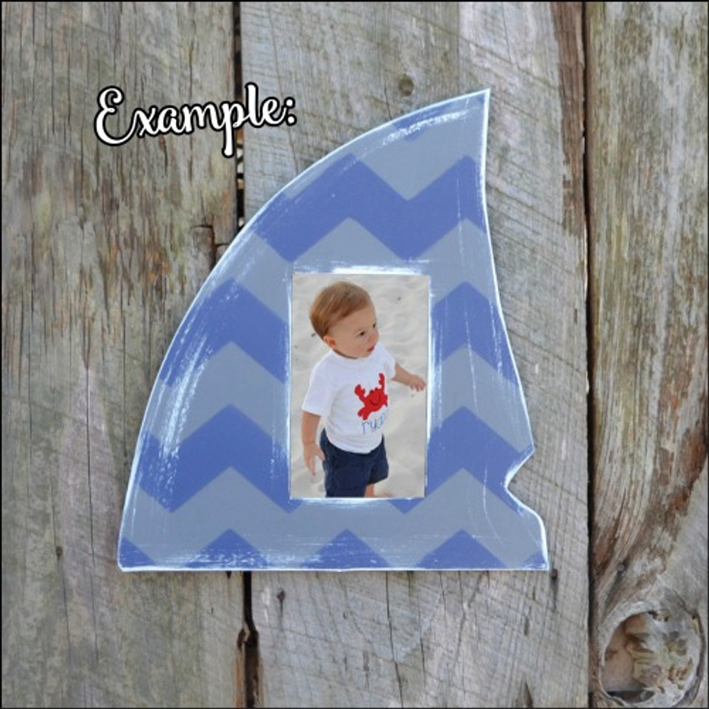 Shark Fin Picture Frame Unfinished Paintable Cutout DIY Craft Wall Decor