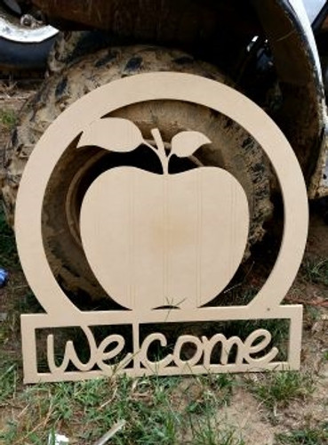 Apple Welcome Sign, Beadboard Unfinished  DIY Craft