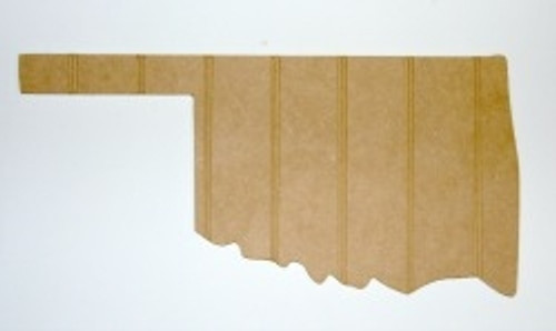 Wooden State Oklahoma Unfinished Beadboard, Paintable  MDF DIY Craft