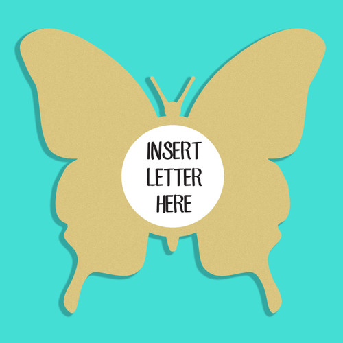Butterfly 2 Frame Letter Insert Wooden Monogram Unfinished DIY Craft