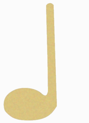 Quarter Note Unfinished Cutout, Wooden Shape, Paintable Wooden MDF