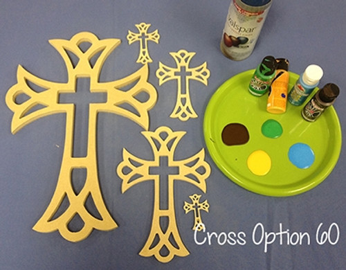 Unfinished Wooden Cross Paintable Wall Hanging Stackable Cross 60