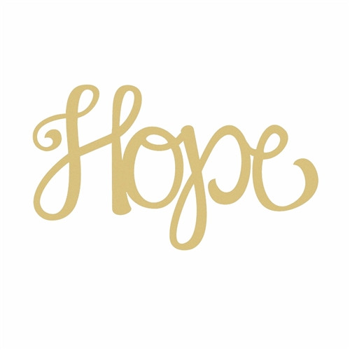 Unfinished Wooden Connected Curly Word, Hope, Paintable Wall DIY Craft