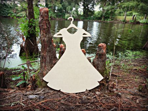 Dress On Hanger Unfinished Cutout, Wooden Shape, Paintable Wooden MDF