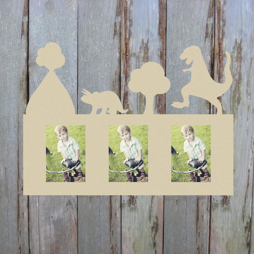 Dinosaurs Photo Picture Frame Unfinished, DIY Picture Frame, Paintable