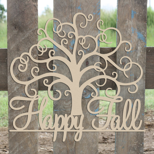 """21"""" Happy Fall Tree Unfinished Cutout, Wooden Shape, MDF DIY"""