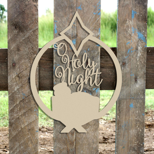 O Holy Night Framed Circle Wooden (MDF) Cutout - Unfinished  DIY Craft
