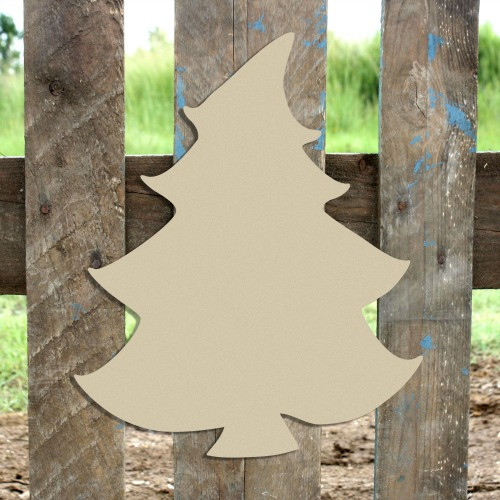 Whimsical Christmas Tree Cutout, Wooden Shape,  DIY Craft