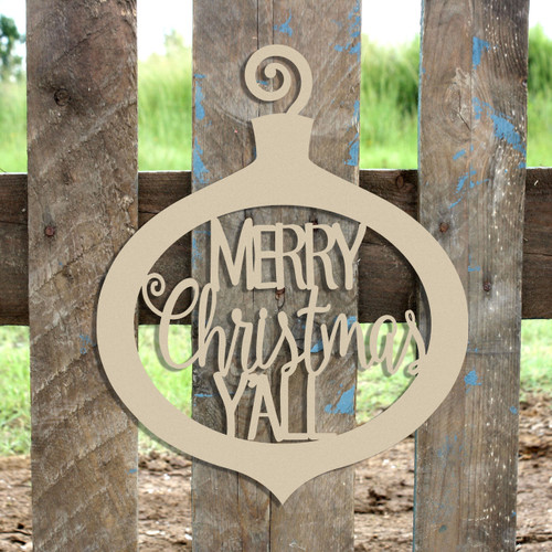 Merry Christmas Y'all Curly Ornament Wooden (MDF) Cutout - Unfinished  DIY Craft
