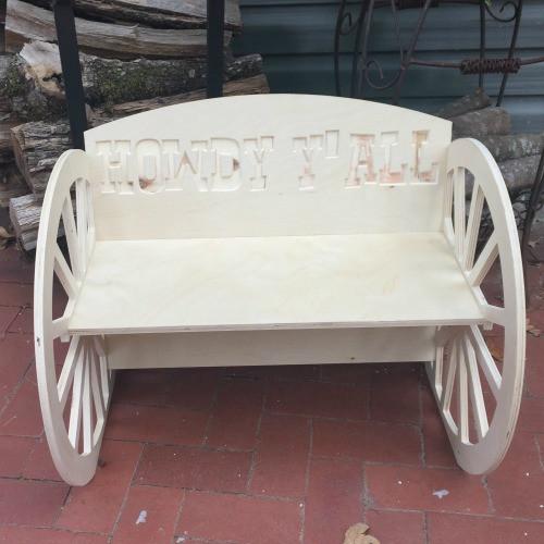 Children's Bench (Wagon Wheel), Unfinished Paintable Birch Wood