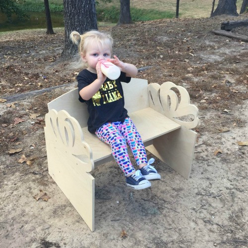 Children's Bench (Present), Unfinished Paintable White Pine Wood
