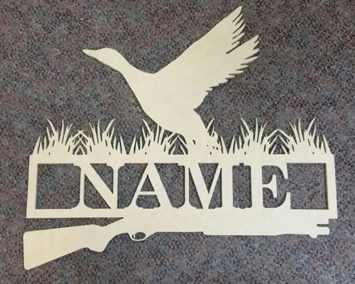 Duck Hunt Frame Family Name, Unfinished Framed Monogram