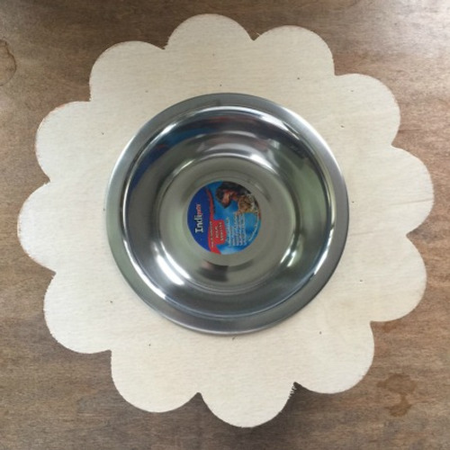 Dog Bowl Unfinished Wooden Flower Stainless Bowl