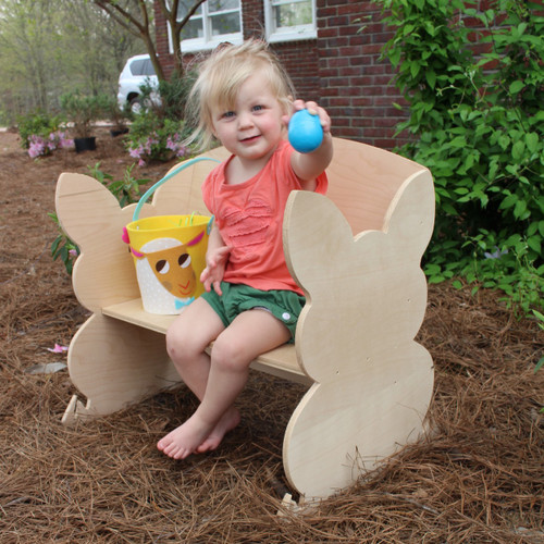 Children's Bench (Bunny), Unfinished Paintable White Pine Wood