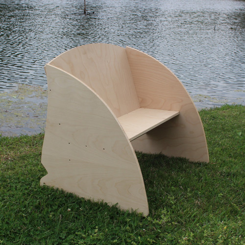 Children's Bench (Shark Fin), Unfinished Paintable White Pine