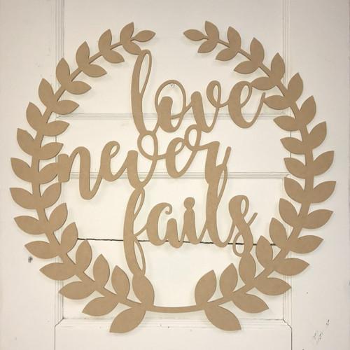Roman Wreath - Love Never Fails, Unfinished Cutout MDF
