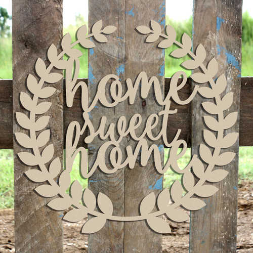Roman Wreath - Home Sweet Home    Unfinished Cutout MDF