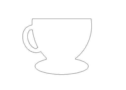 Tea Cup with Plate Unfinished Cutout, Wooden Shape, Paintable Wood